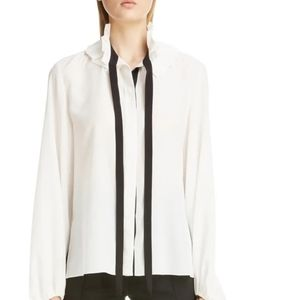 Chloe silk blouse with ruffles and tie